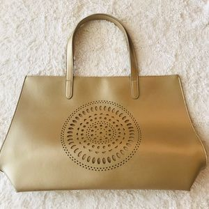 Neiman Marcus Large Gold Mandala Cut Out Tote Bag